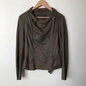 Zara Woman Faux Suede Zip Up Moto Jacket
